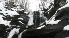 Winter in the mountains of Europe, landscapes, waterfalls, bare trees - stock footage