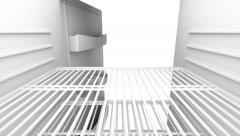 Opening and closing door on empty fridge Stock Footage
