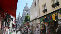 Pictorial street at the Montmartre Stock Footage
