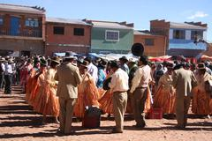 Fiesta in Bolivian village, Andes, South America Stock Photos