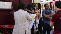 Portrait taken on a street at the Montmartre Stock Footage