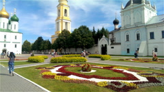 Main square of Kolomna Kremlin. Assumption Cathedral and Holy Trinity Monastery Stock Footage
