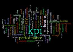 Word cloud of key performance indicator (kpi) and its related words - stock illustration