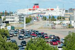 Car ferry and carpark - stock photo