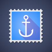 Blue ,ail stamp icon with an anchor Stock Illustration