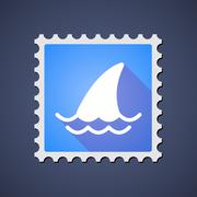 Blue ,ail stamp icon with a shark fin Stock Illustration