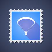 Blue ,ail stamp icon with a paraglider Stock Illustration