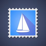 Blue ,ail stamp icon with a ship Stock Illustration