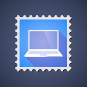Blue ,ail stamp icon with a laptop Stock Illustration