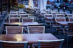 Empty bar terrace at night - stock photo