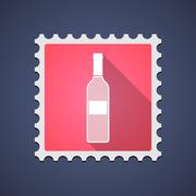 Stock Illustration of Red mail stamp icon with a bottle of wine