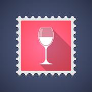 Stock Illustration of Red mail stamp icon with a glass of wine
