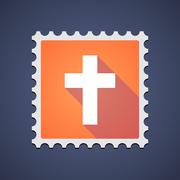 Stock Illustration of Orange mail stamp icon with a cross