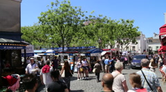 The painters corner at the Montmartre - stock footage