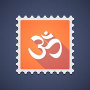 Stock Illustration of Orange mail stamp icon with an om sign