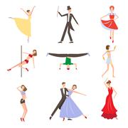 Dancing Styles Flat design - stock illustration