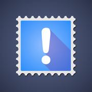 Blue mail stamp icon with an admiration sign - stock illustration