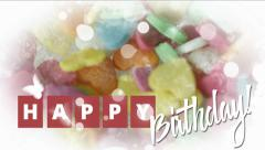 Happy birthday greeting card  in watercolor style. - stock footage