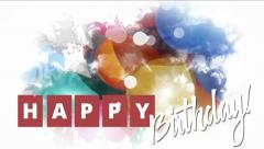 Happy birthday greeting card with balloons. Stock Footage
