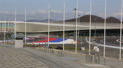 Panorama of Olympic Park in Sochi Stock Footage