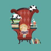 Little girl reading a book - stock illustration