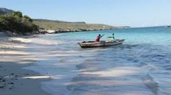 Haitian Fishermen on Beach Arkistovideo