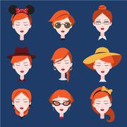 Stock Illustration of Fashion Girls in Head Accessories Set