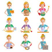 Stock Illustration of Housewife Icon Set