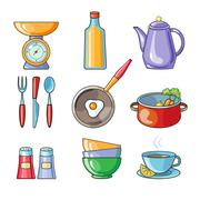 Cooking tools and kitchenware equipment - stock illustration