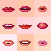 Set of Beautiful Female Lips - stock illustration