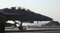 F/A-18 Hornets and EA-6B Prowlers Launch From Aircraft Carrier Stock Footage