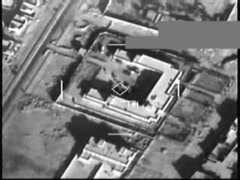 Aerial Footage of U.S. Airstrike Against ISIL in Syria Stock Footage