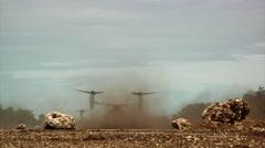 V-22 Osprey Landing tilt rotor helicopter operations Stock Footage
