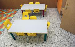 Classroom of a preschool with chairs and desk Stock Photos