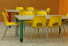 Classroom of a kindergarten with yellow chairs Stock Photos