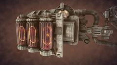 Steampunk  time mechanism on brown smoke Piirros
