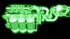 Steampunk mechanism green grid on black background Piirros