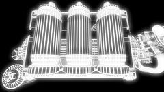 Steampunk mechanism white grid on black background Piirros