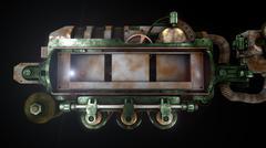 Stylized steam punk rust mechanism - stock illustration
