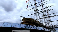 Cutty Sark, a tea clipper, docked at Greenwich. London Stock Footage