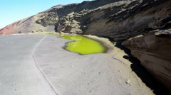 Aerial video footage of the Green Lagoon at El Golfo, Lanzarote Stock Footage