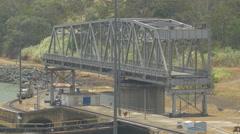 Miraflores Locks with bridge in Panama Stock Footage