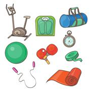 Stock Illustration of Vector Flat Icons Set of Fitness Tools and Elements
