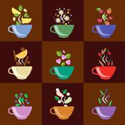 Cups With Tea Set Berries, Lemon, Mint, Vanilla and More - stock illustration