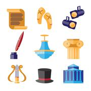 Theater Performance Decorative Icons Set - stock illustration