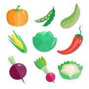 Stock Illustration of Set of Fresh Vegetables