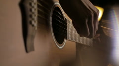 Musician playing guitar close up Stock Footage