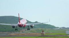 AirAsia landing Stock Footage