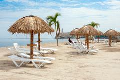 Art installation resembling a tropical beach at the Havana Bienn Stock Photos