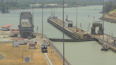 Miraflores Locks with docks in Panama Stock Footage